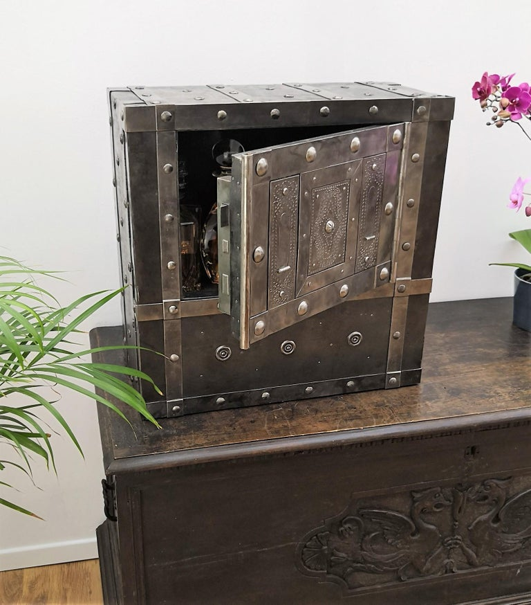 Wrought Iron Italian Antique Hobnail Safe Strongbox Bar Cabinet For Sale 6