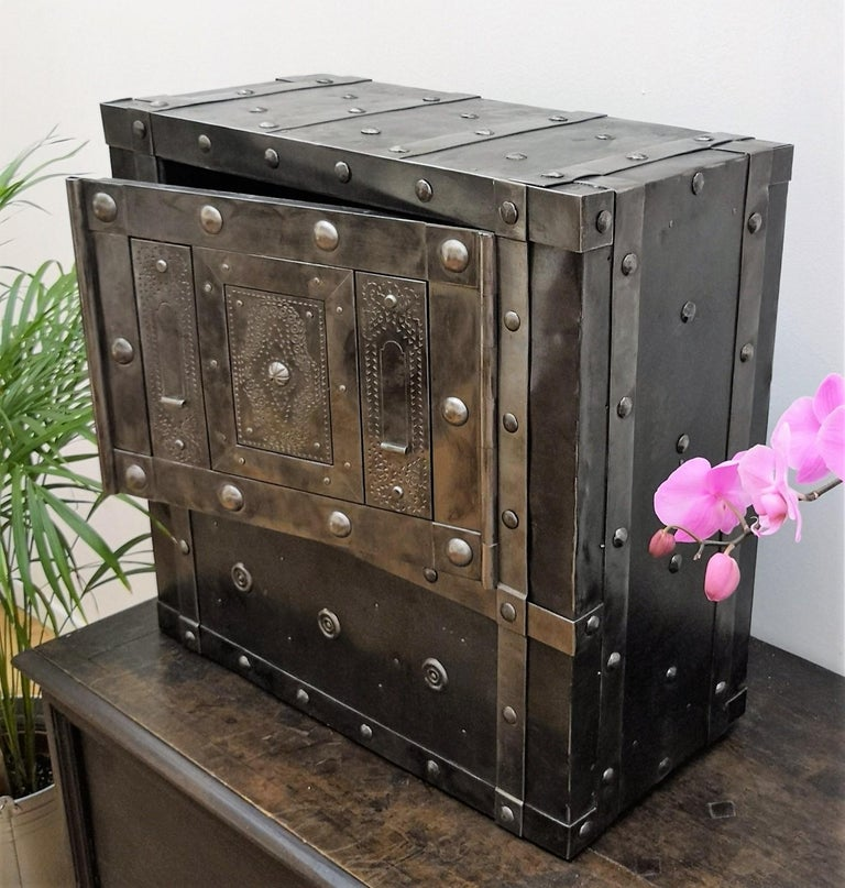 18th Century Wrought Iron Italian Antique Hobnail Safe Strongbox Bar Cabinet For Sale