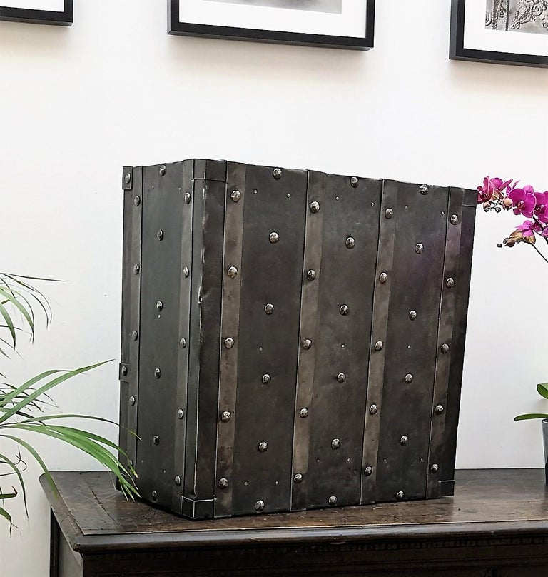 Wrought Iron Italian Antique Hobnail Safe Strongbox Bar Cabinet For Sale 5