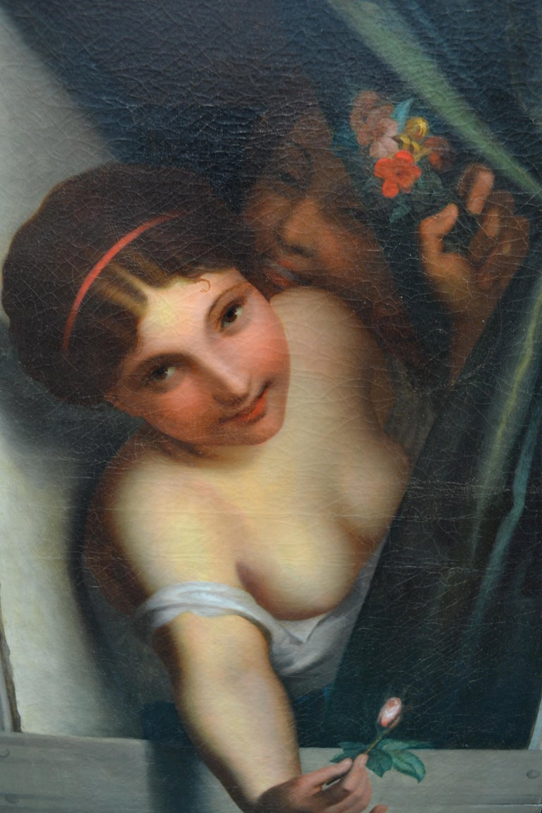 A very suggestive oil painting of a beautiful bare breasted woman which could be a prostitute or a temptress leaning out a mindow offerring a rose bud to an admnirer, and seemingly encouraged to do the gesture be a woman half hidden behind the