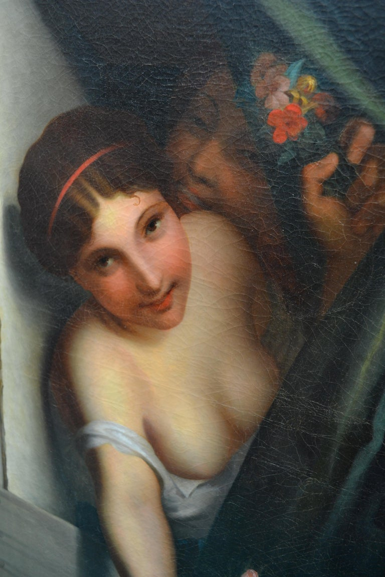 Romantic Late 19th Century Oil Painting Called 'Le Bouton Rose' by Emil Preuss For Sale