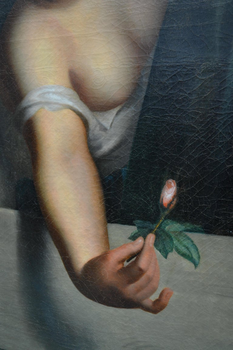 German Late 19th Century Oil Painting Called 'Le Bouton Rose' by Emil Preuss For Sale