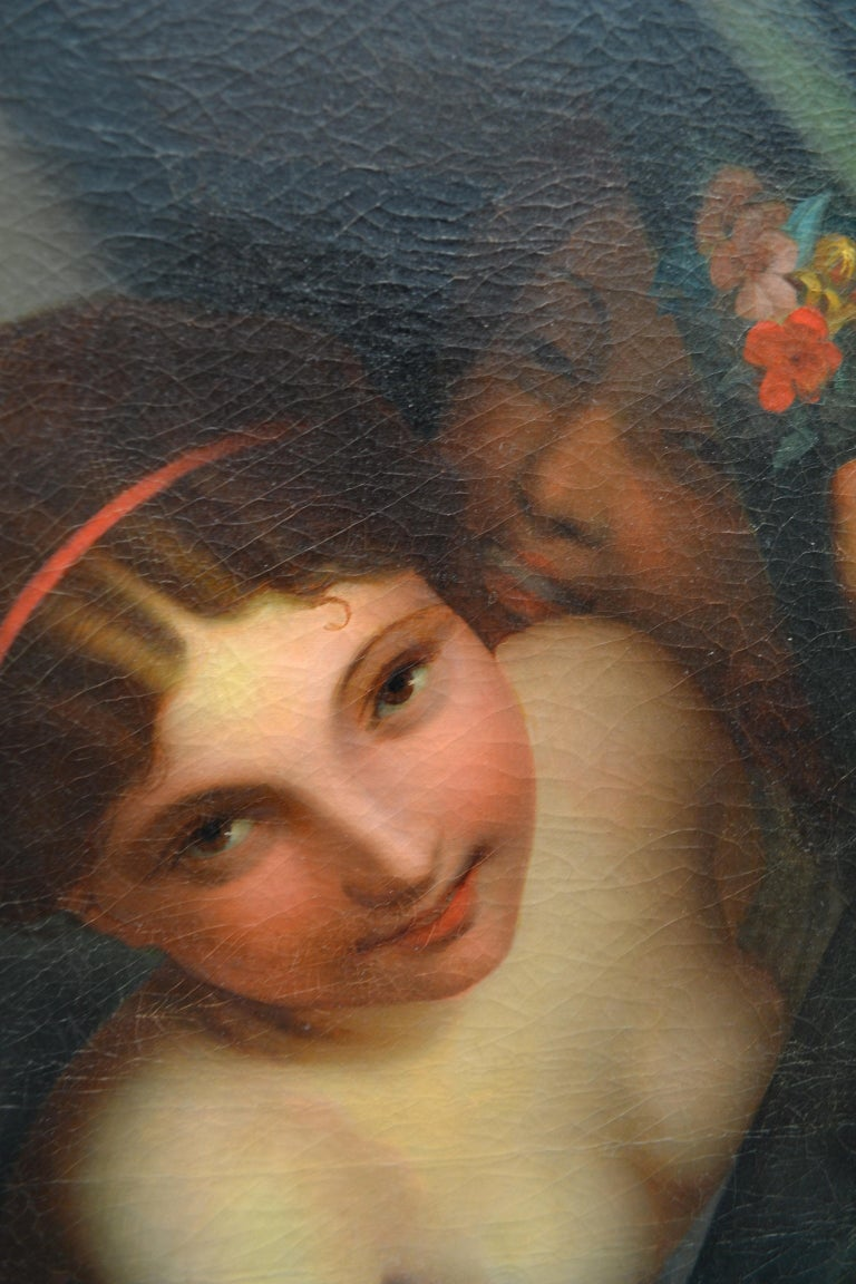 Late 19th Century Oil Painting Called 'Le Bouton Rose' by Emil Preuss In Good Condition For Sale In Vancouver, British Columbia