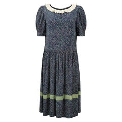Late 1920s Navy Silk Floral Print Day Dress With Cream Pleated Collar