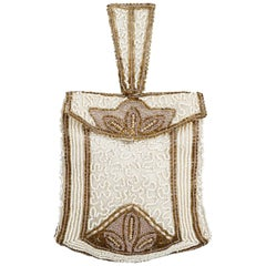 Late 1920s or Early 1930s Art Deco Cream and Gold Beaded Bag
