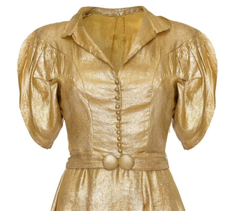 Brown Late 1930s Gold Lame Party Dress with Cape Sleeves and Matching Belt For Sale
