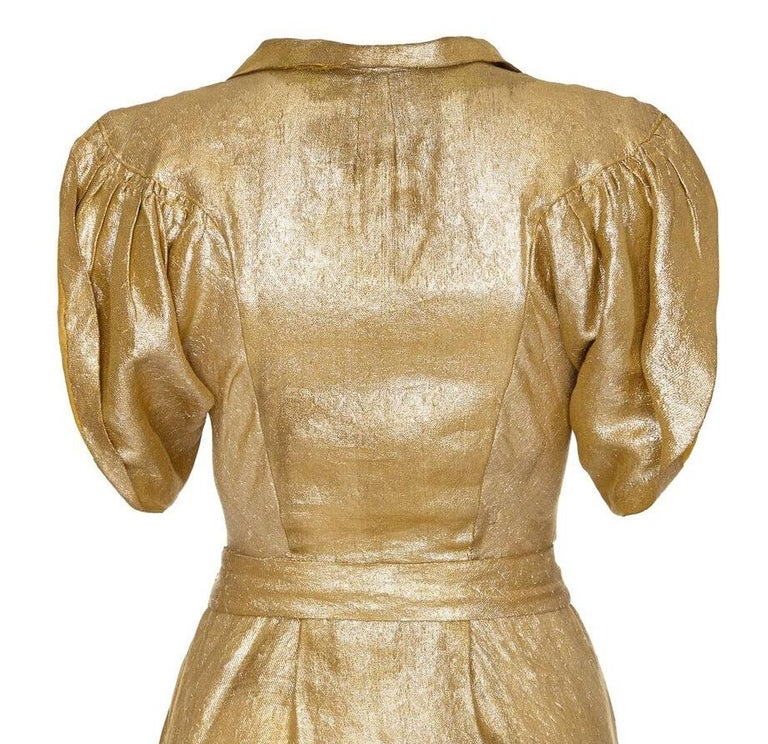Late 1930s Gold Lame Party Dress with Cape Sleeves and Matching Belt In Excellent Condition For Sale In London, GB