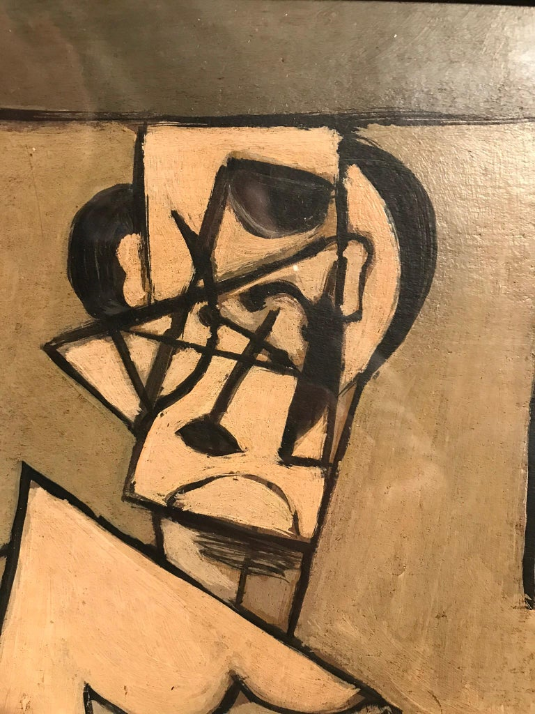 Describing how the artist sees themselves with each line, shape and bush stroke of this cubist oil painting, this piece is a reflection of the creator. Signed J.G.