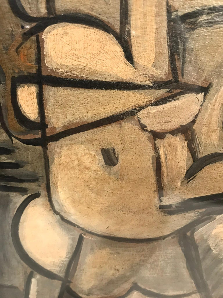 Late 1930s Parisian Signed Cubist Self-Portrait Oil Painting In Excellent Condition For Sale In Dallas, TX