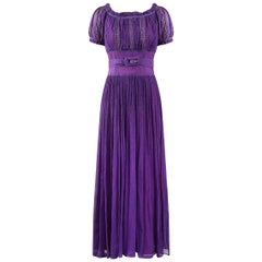 Late 1940s or 1950s Baroque Deep Purple Silk Chiffon Evening Dress
