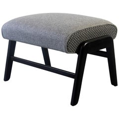 Late 1950s G-Plan 'Siesta' Adjustable Footstool in Two-Tone Grey Wool