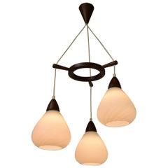 Late 1950s Teak Wood and Milk Glass Tripod Pendant, Scandinavian Modern Style