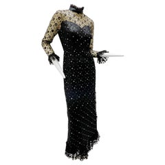 Late 1960s Black Maxi Dress w/ Rhinestone Dotted Tulle Overlay & Ruffle Detail
