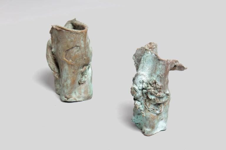 Late 1960s Brutalist Bronze Sculpture By Unknown Artist.   Dimensions. Big  16.5 CM H 14 CM W 9 CM D  Small 17.5 CM H 10 CM W 10 CM D