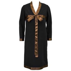 Late 1960s Geoffrey Beene Black Dress with Brown Satin Ribbon Detail