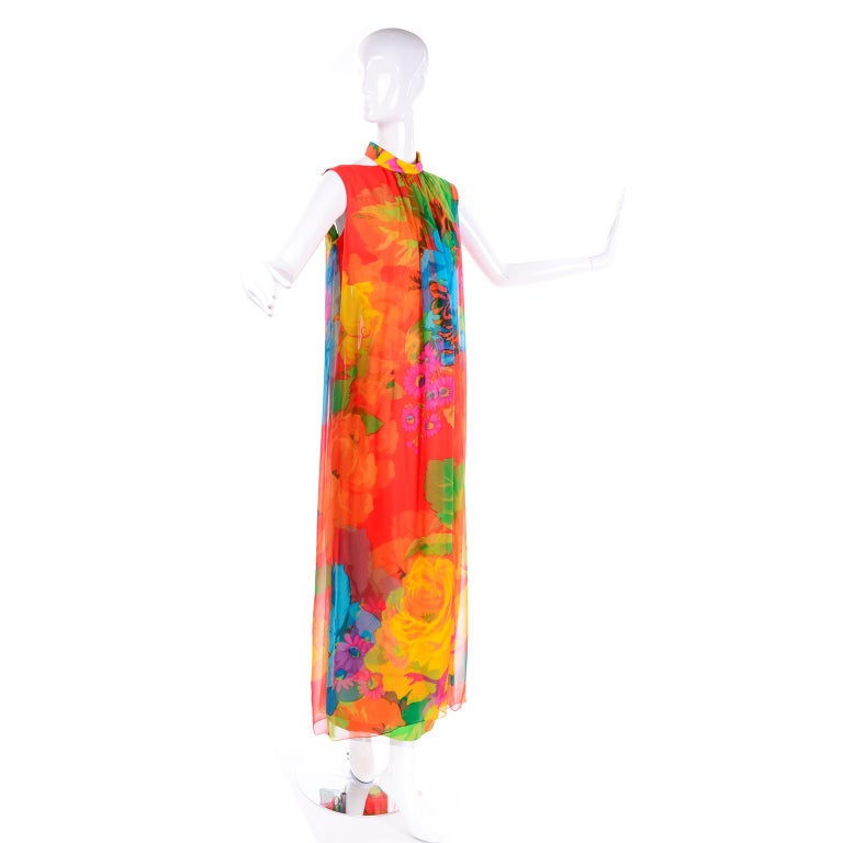 Orange Late 1960s Hanae Mori Vintage Silk Floral Halter Dress w Low Scoop Back For Sale