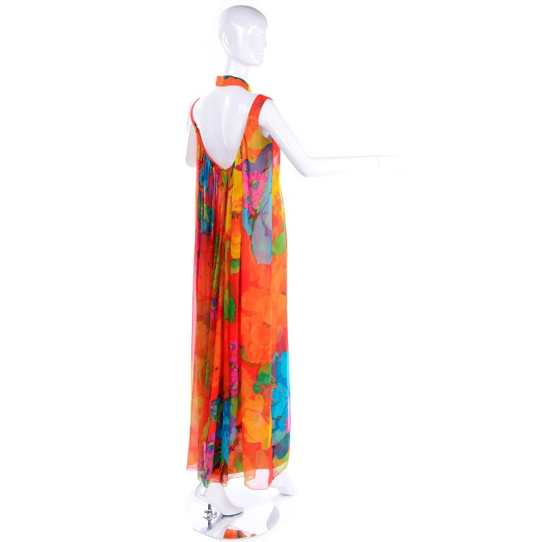 Women's Late 1960s Hanae Mori Vintage Silk Floral Halter Dress w Low Scoop Back For Sale