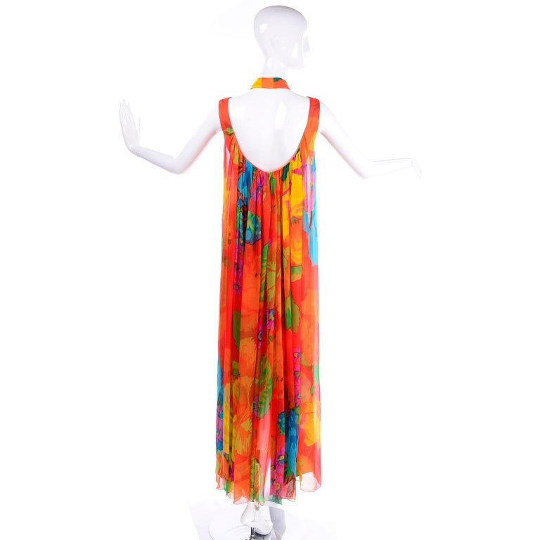 Late 1960s Hanae Mori Vintage Silk Floral Halter Dress w Low Scoop Back For Sale 1