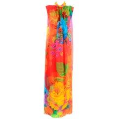 Late 1960s Hanae Mori Vintage Silk Floral Halter Dress w Low Scoop Back