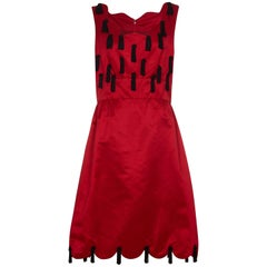 Late 1960s or 1970 Jo Copeland for Lisa Meril Red Silk Tassel Dress
