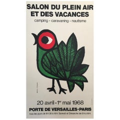 Late 1960s Original Vintage French Poster, 'Salon Du Plein Air Paris' Bird