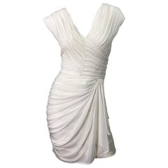 Late 1970s Loris Azzaro Couture White Silk Matte Jersey Grecian Inspired Dress