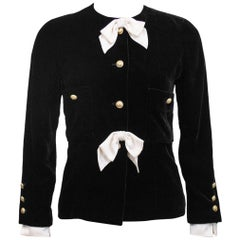 Late 1980's Chanel Black Velvet Jacket with Cream Satin Bows