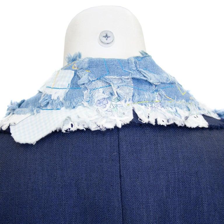 Women's Late 1980s John Galliano Denim Patchwork Blazer For Sale