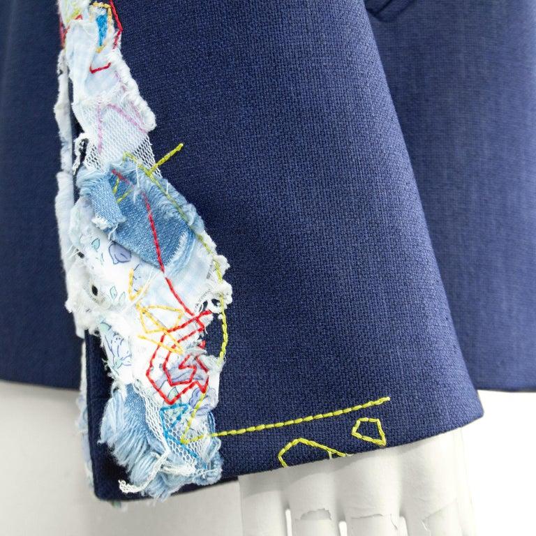 Late 1980s John Galliano Denim Patchwork Blazer For Sale 1