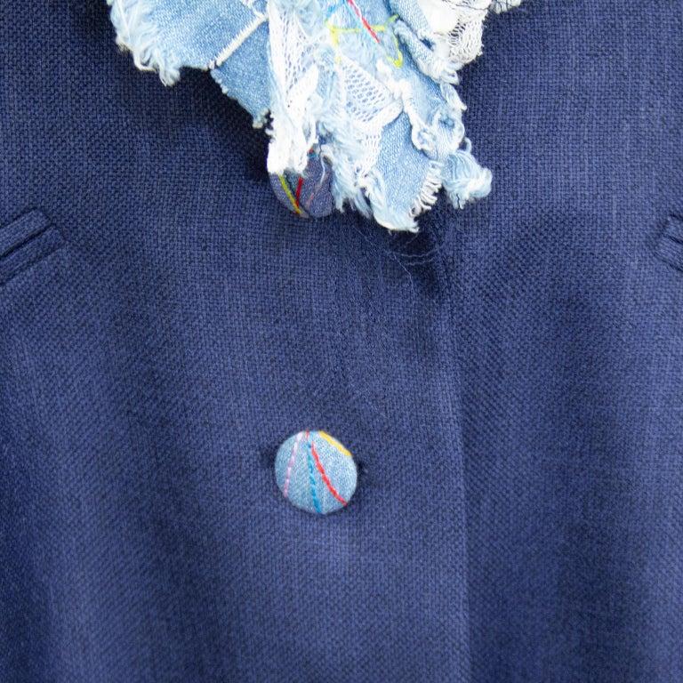 Late 1980s John Galliano Denim Patchwork Blazer For Sale 2