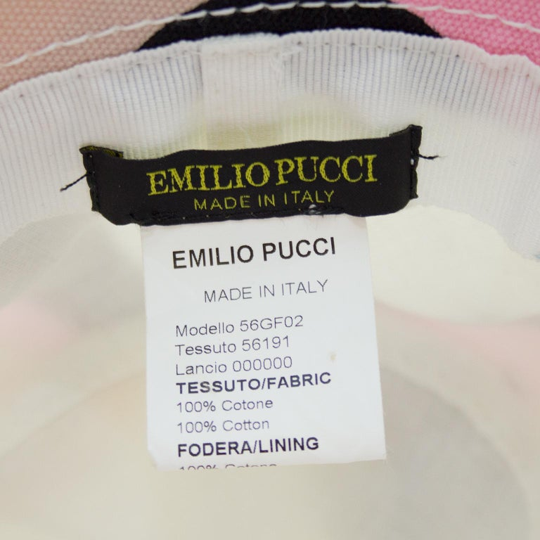 Women's or Men's Late 1990s Emilio Pucci Pink and Brown Canvas Bucket Hat For Sale