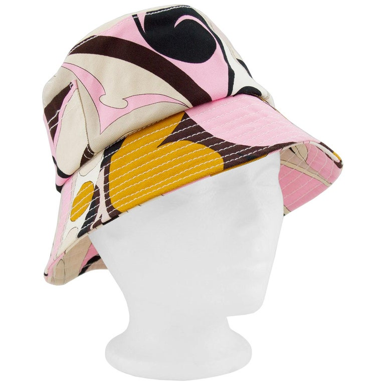 Late 1990s Emilio Pucci Pink and Brown Canvas Bucket Hat For Sale