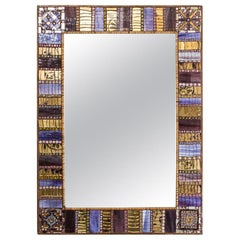 Early 2000 Mosaic Mirror with Gold Silver Colour Glass Tassels, Dusciana Bravura