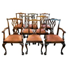 Late 19th Century English Mahogany Chippendale Style Dining Chairs