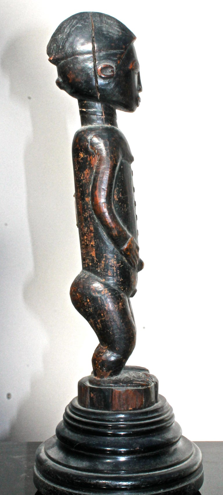 Late 19 Century Tribal Baule Male Figure with Period Mount African Art For Sale 3