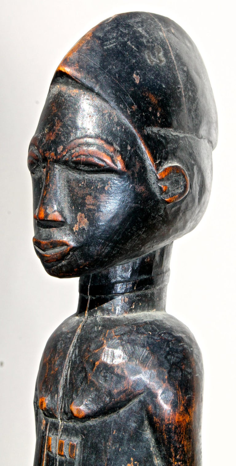 Ivorian Late 19 Century Tribal Baule Male Figure with Period Mount African Art For Sale