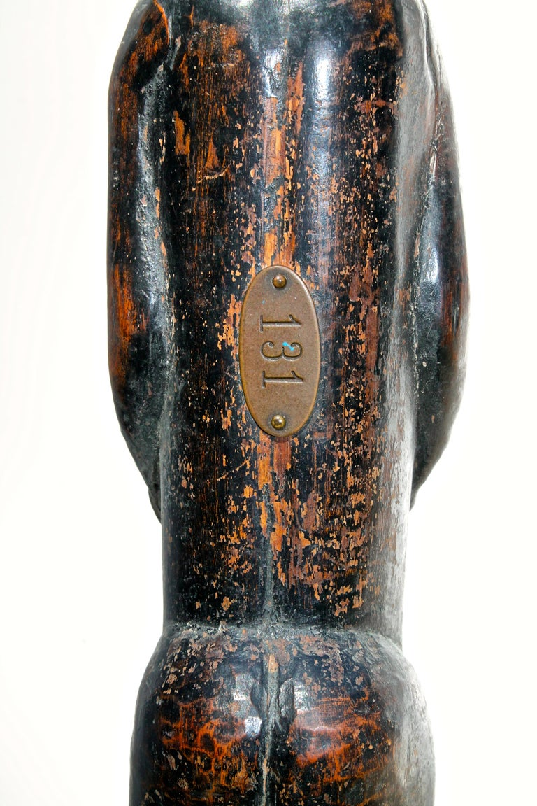 19th Century Late 19 Century Tribal Baule Male Figure with Period Mount African Art For Sale