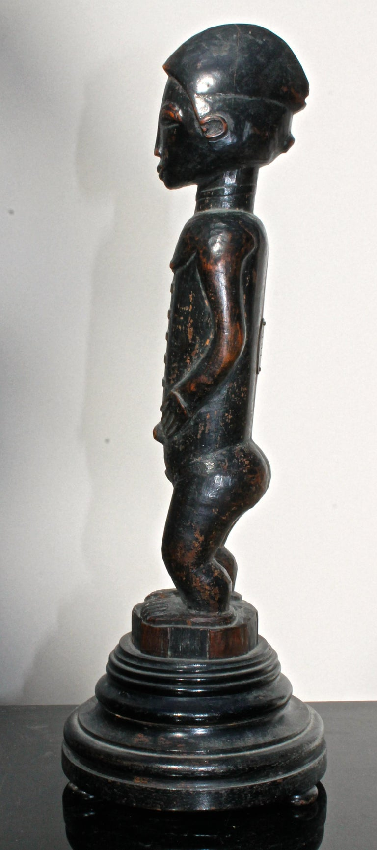 Wood Late 19 Century Tribal Baule Male Figure with Period Mount African Art For Sale
