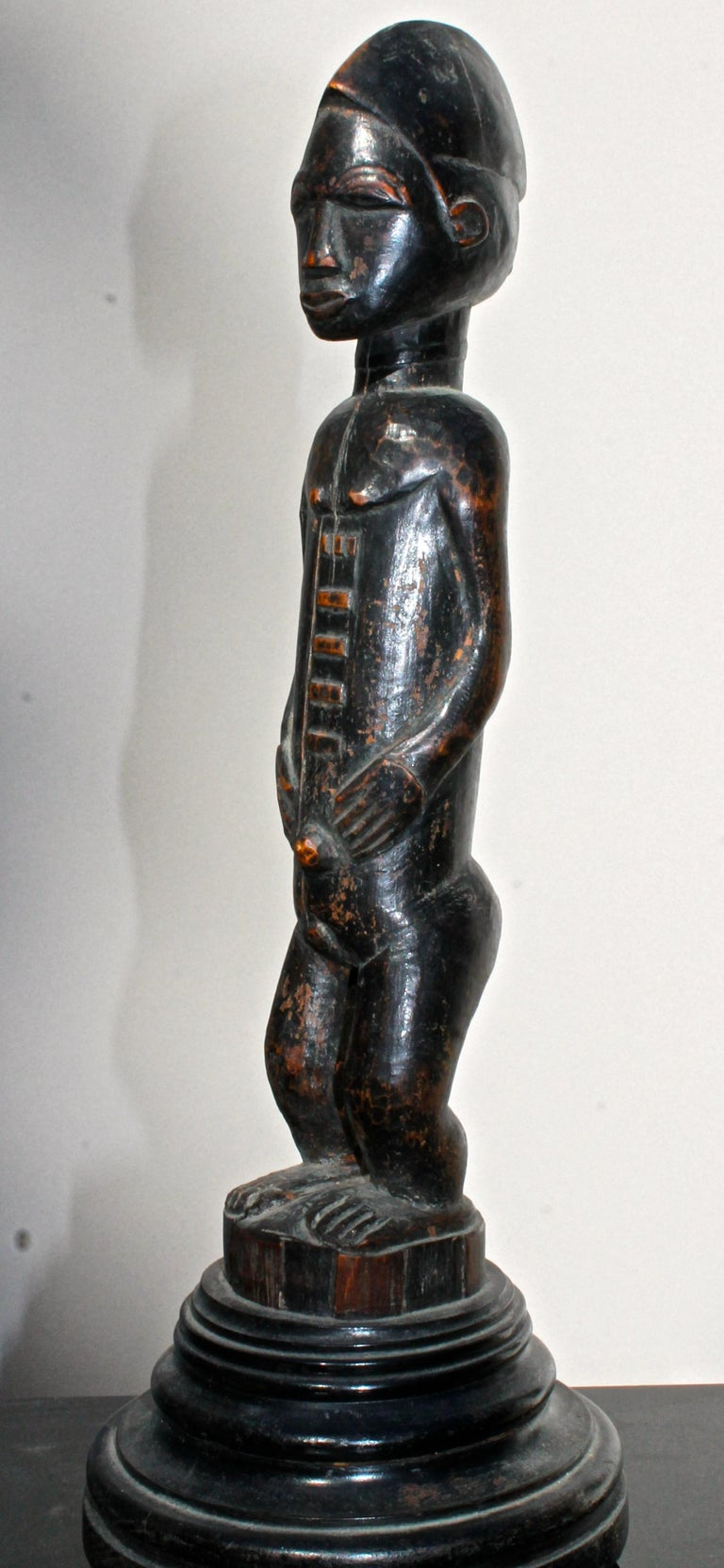 Late 19 Century Tribal Baule Male Figure with Period Mount African Art For Sale 1