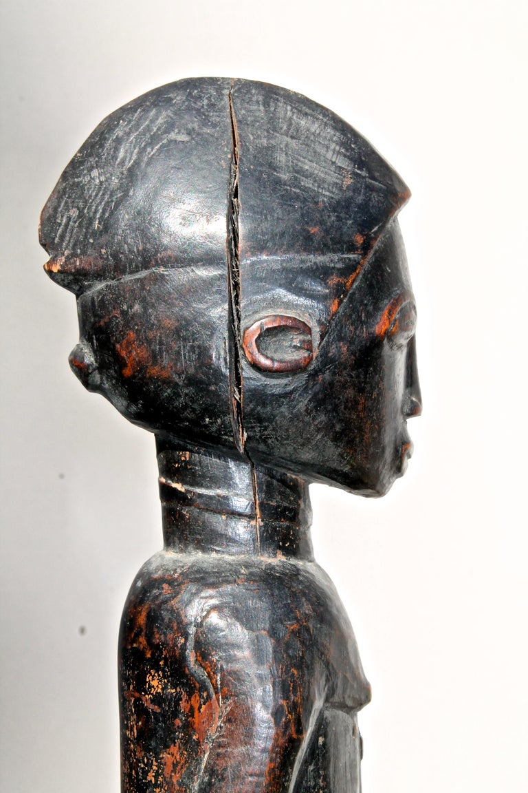 Late 19 Century Tribal Baule Male Figure with Period Mount African Art For Sale 2