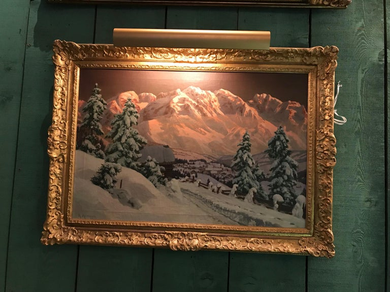 Late 19th-early 20th century winter landscape / snow scene, by Alois Arnegger oil on canvas. Signed A. Arnegger Measures: Height 31
