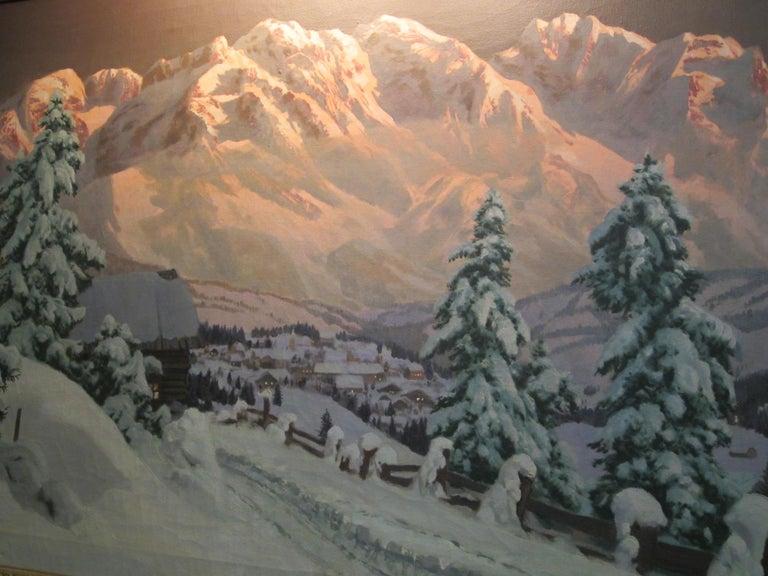Austrian Late 19th-20th Century Winter Landscape, Alois Arnegger Oil on Canvas Snow Scene For Sale