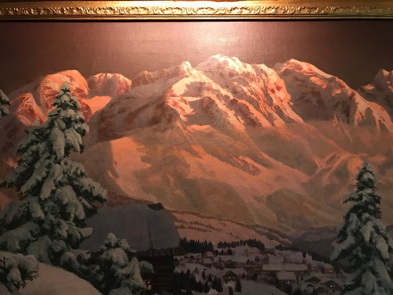Late 19th-20th Century Winter Landscape, Alois Arnegger Oil on Canvas Snow Scene In Excellent Condition For Sale In West Hollywood, CA