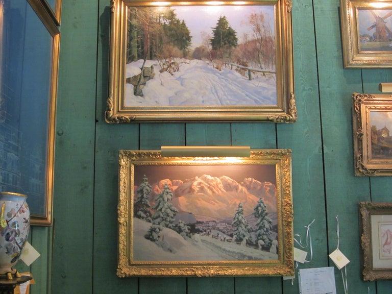 19th Century Late 19th-20th Century Winter Landscape, Alois Arnegger Oil on Canvas Snow Scene For Sale