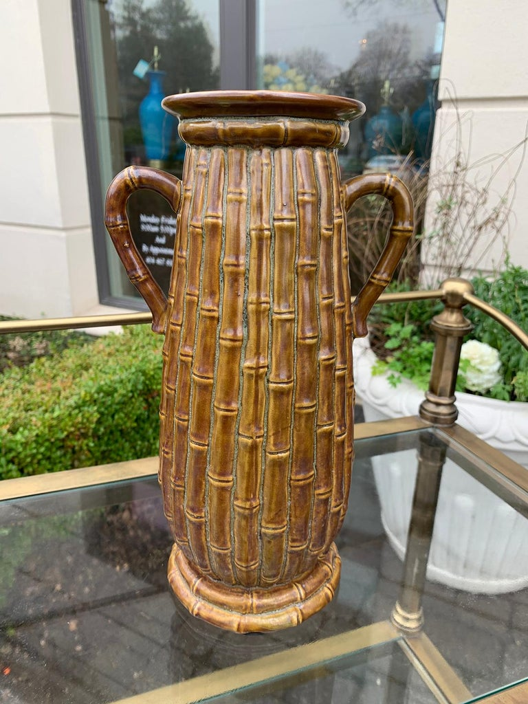 Late 19th-20th century porcelain vase, faux caneware / faux bamboo.
