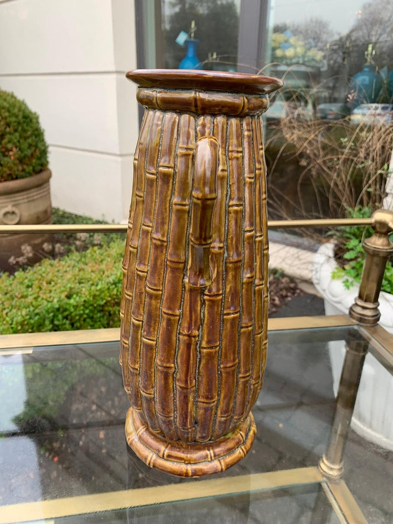 Late 19th-20th Century Porcelain Vase, Faux Caneware / Faux Bamboo In Good Condition For Sale In Atlanta, GA