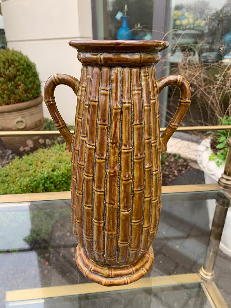 19th Century Late 19th-20th Century Porcelain Vase, Faux Caneware / Faux Bamboo For Sale