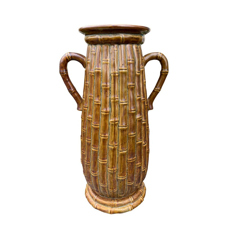Late 19th-20th Century Porcelain Vase, Faux Caneware / Faux Bamboo For Sale