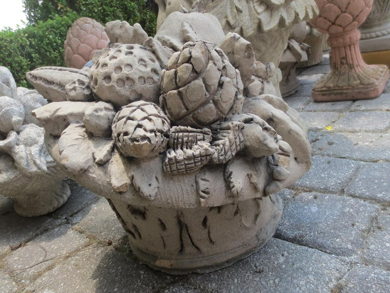 Late 19th-20th Century Carved Stone Fruit Baskets For Sale 1