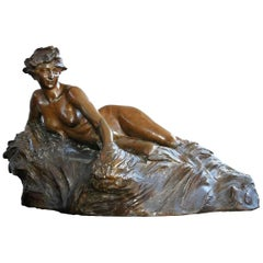 Late 19th Allegory of the River Seine Lost Wax by R. Larche Cast of Susse Frères